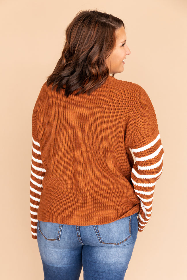 Enjoying Today Striped Brown Sweater CLEARANCE