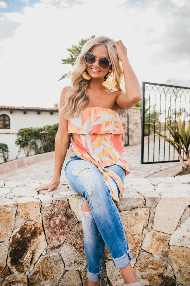 Escape With Me Coral Printed Blouse
