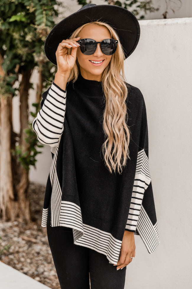 Everything You Need Black Striped Poncho DOORBUSTER