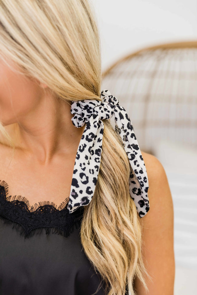 Fierce Feelings Animal Print Hair Scarf Ivory