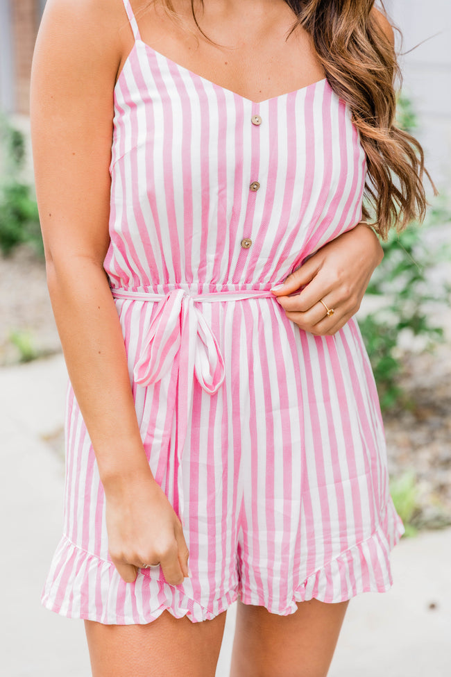 Fill My Life With Love Pink Striped Romper