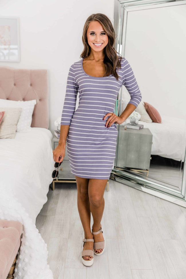 Finally Found You Lilac Striped Dress CLEARANCE