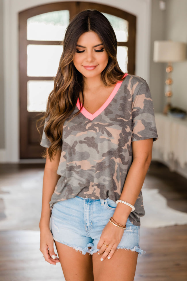Find My Way Back Home Camo Print Blouse