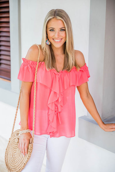 Flattering New F/&F Coral Pink Cold Shoulder Blouse Top