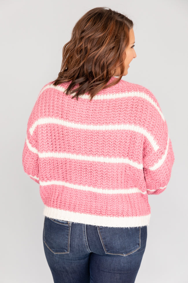 First To Fall In Love Mauve Striped Sweater FINAL SALE