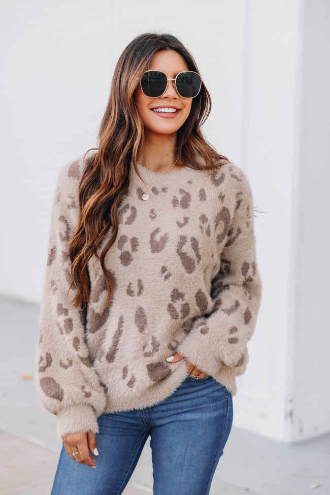 Flirtatious Smile Animal Print Brown Sweater FINAL SALE