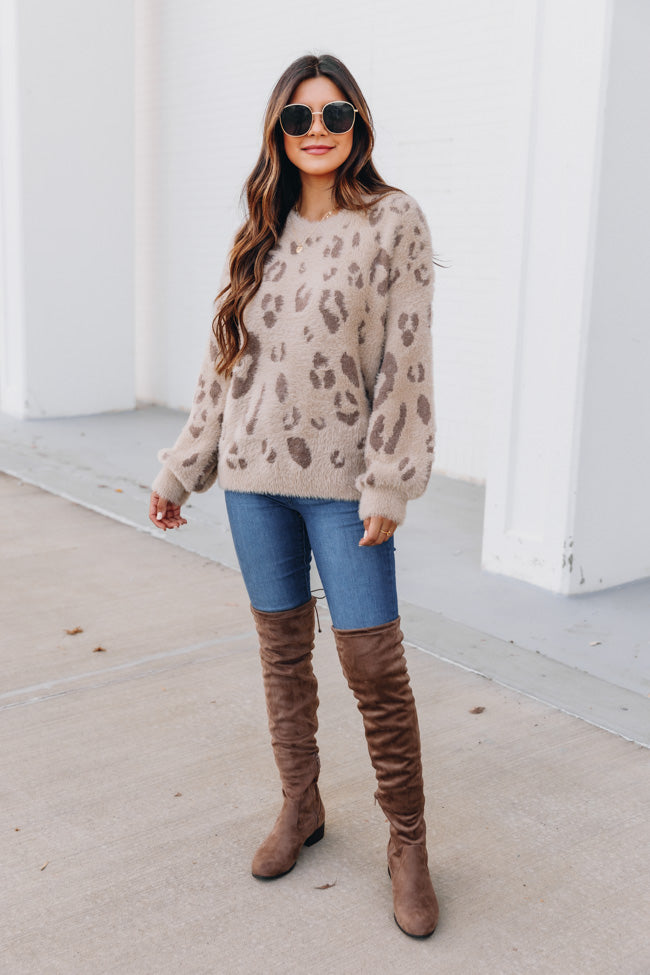 Flirtatious Smile Animal Print Brown Sweater