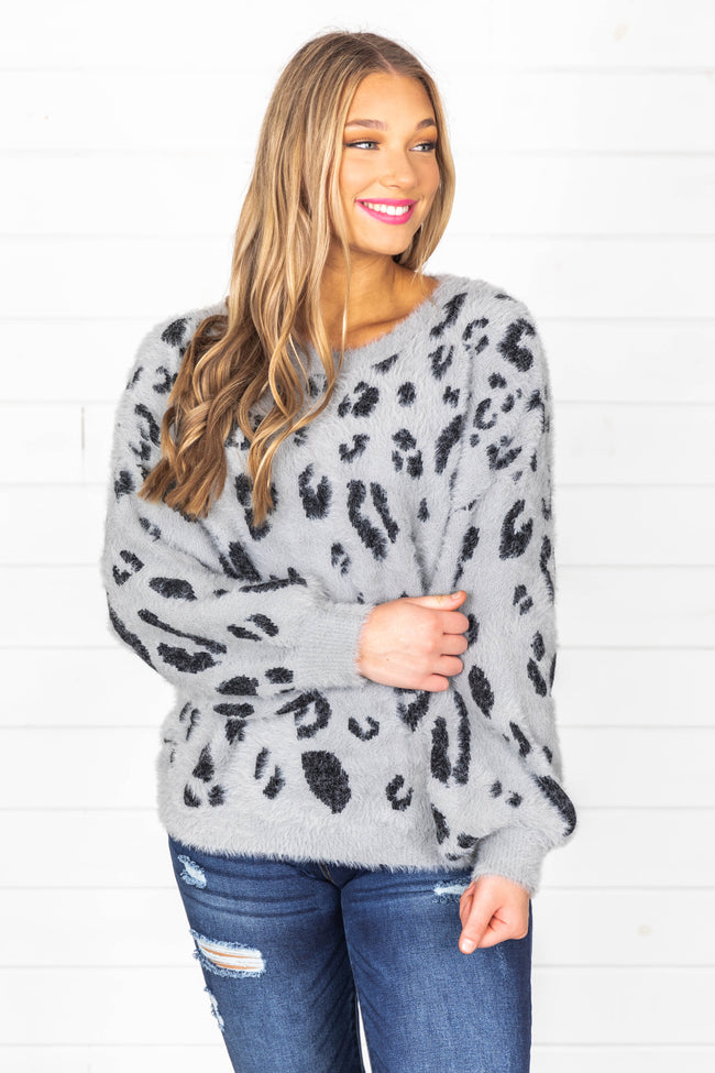 Flirtatious Smile Animal Print Grey Sweater FINAL SALE
