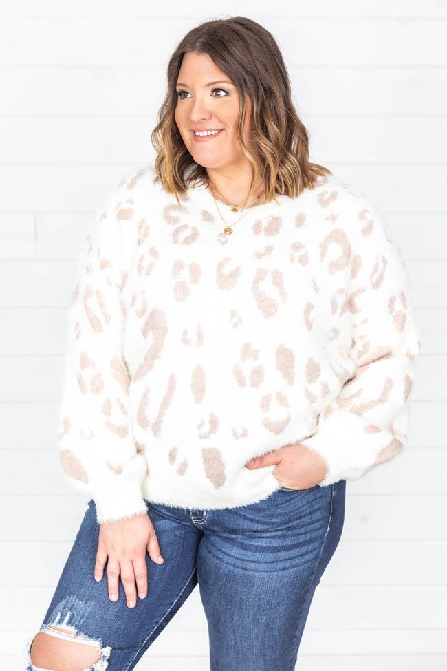 Flirtatious Smile Animal Print Pink Sweater