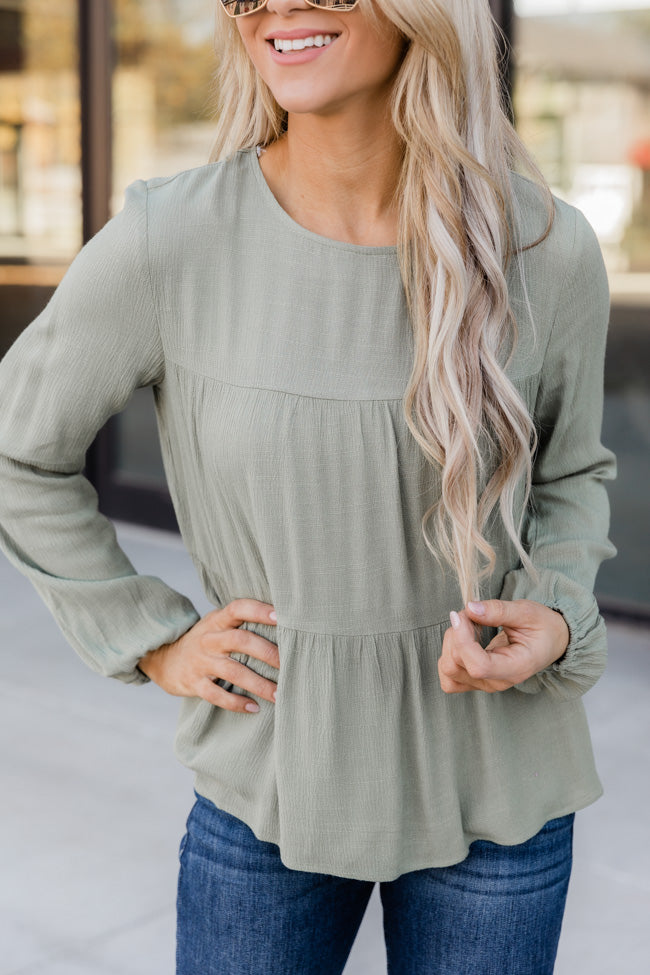 Flourishing In Attention Babydoll Olive Blouse