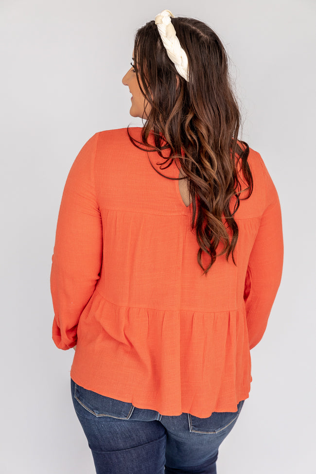 Flourishing In Attention Babydoll Rust Blouse FINAL SALE
