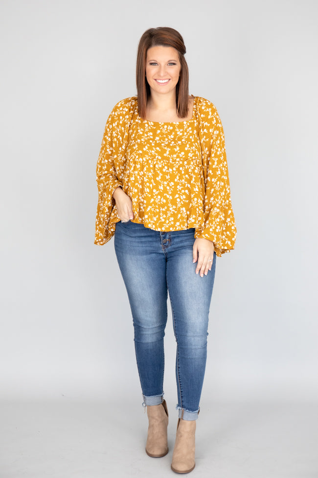 Follow The Sunshine Floral Mustard Blouse CLEARANCE