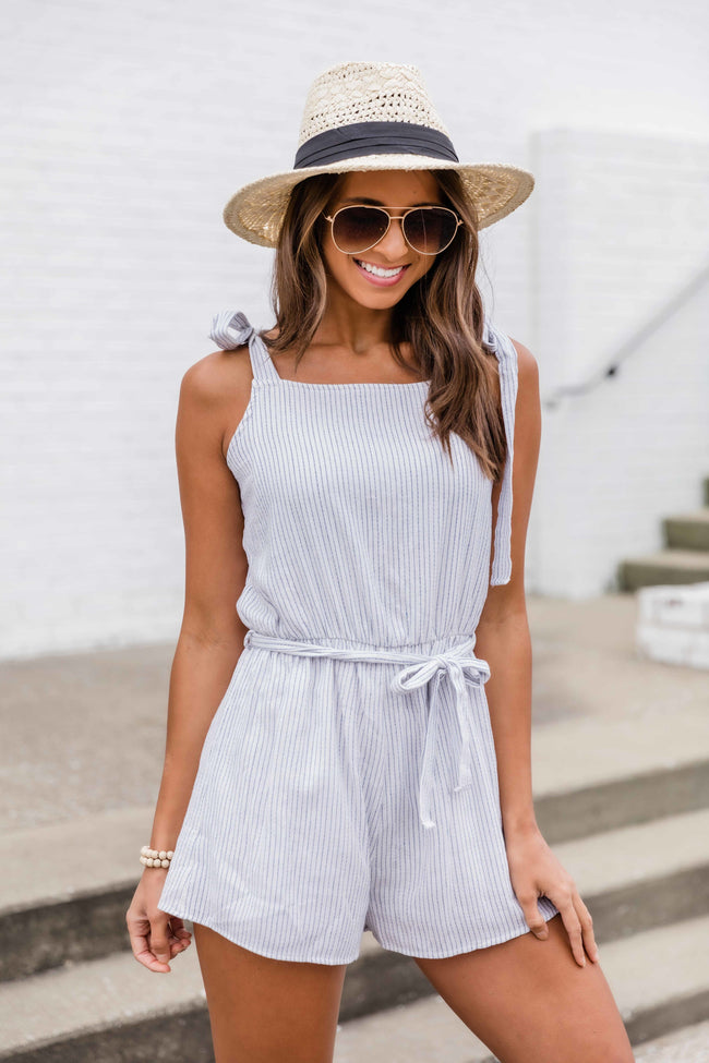 Found A Reason To Stay Striped Romper Blue
