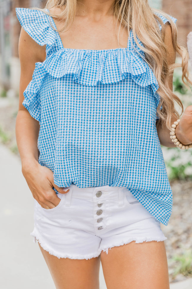 Found My Heart Blue Gingham Blouse
