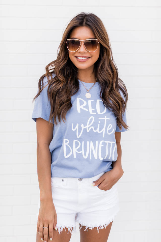 Red White Brunette Graphic Tee Dusty Blue