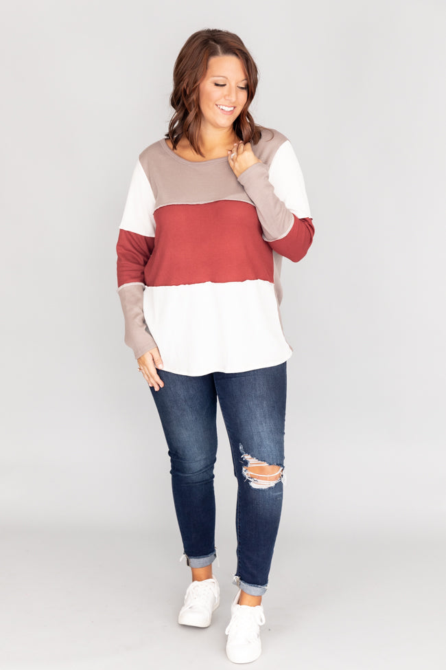 Gather Near Colorblock Taupe Blouse CLEARANCE