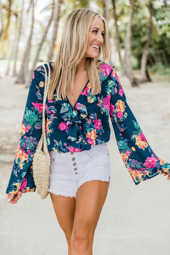 Gave You My Heart Navy Floral Blouse FINAL SALE