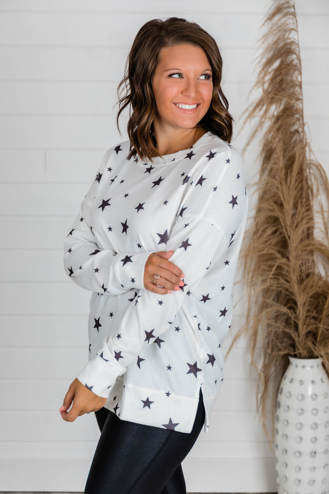 Give A Little Love White/Black Star Printed Blouse