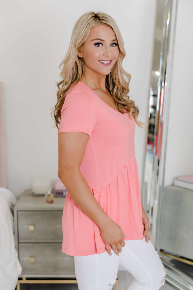 Give It A Whirl Coral Peplum Blouse FINAL SALE