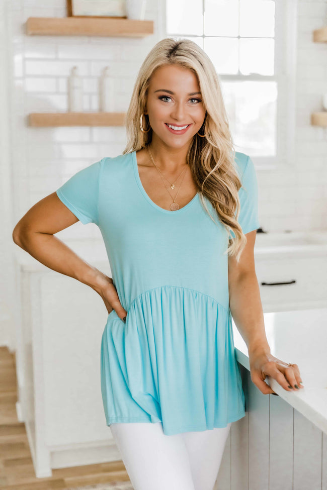 Give It A Whirl Light Blue Peplum Blouse