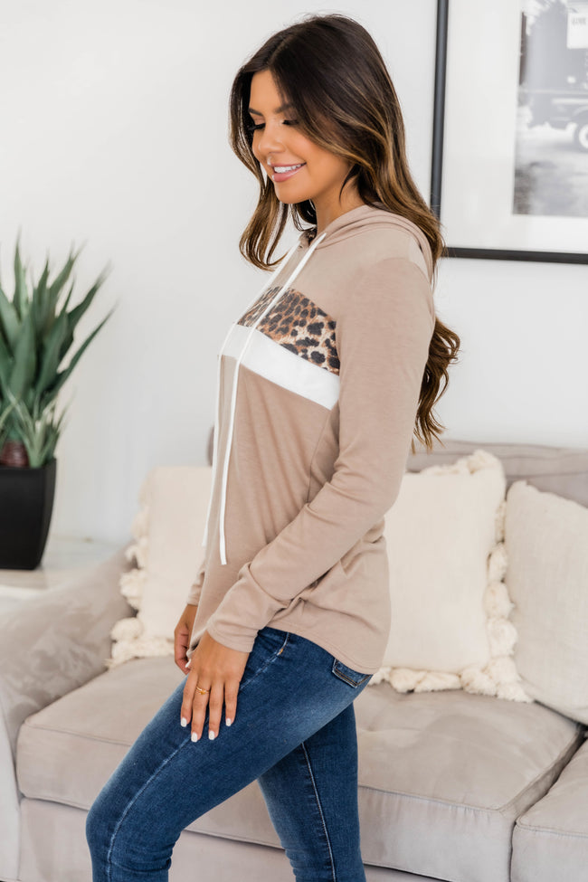 Go Where I Want Tan Colorblock Hoodie CLEARANCE