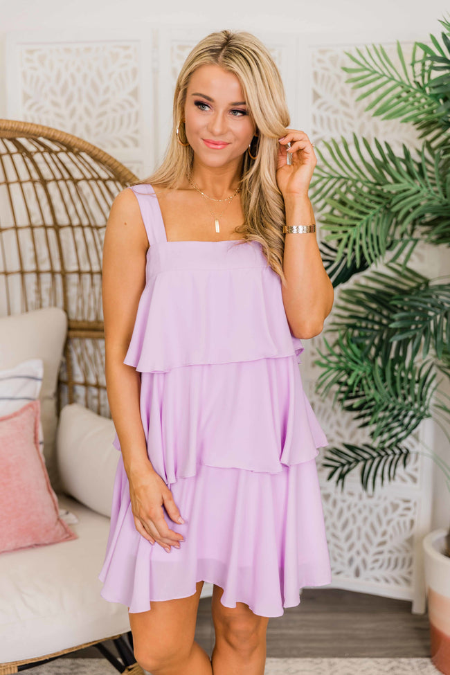 Good Weekend Vibes Lavender Tiered Dress CLEARANCE