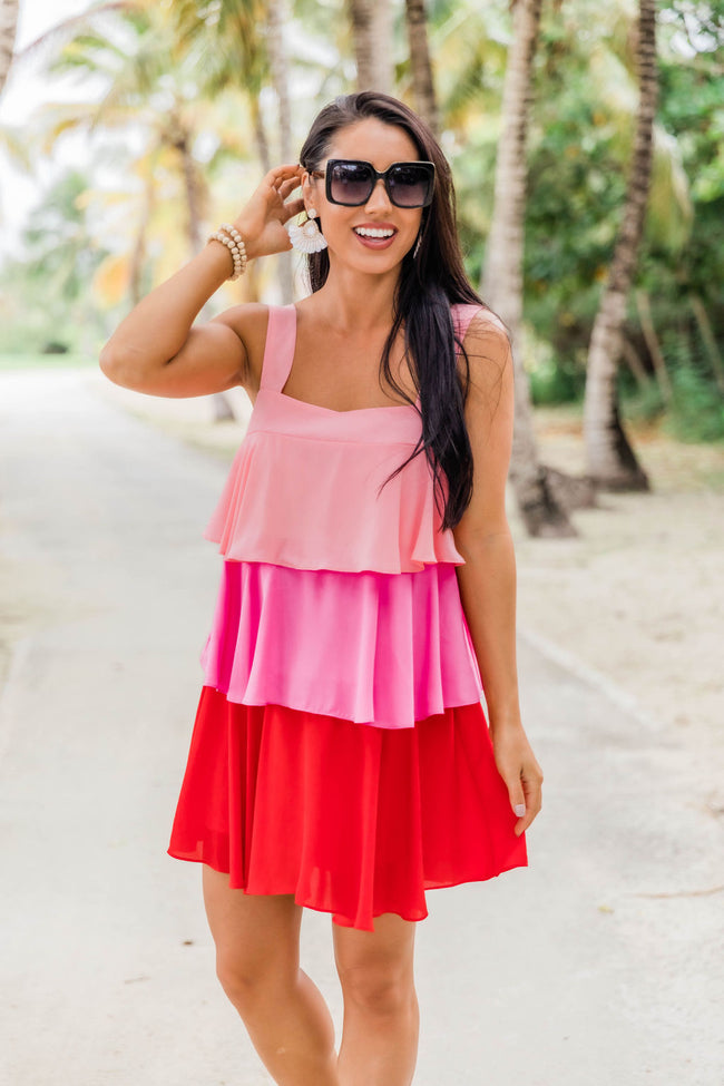 Good Weekend Vibes Pink Colorblock Dress FINAL SALE