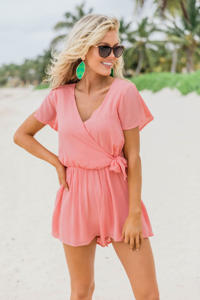 Have Just Enough Time Side Tie Romper Peach