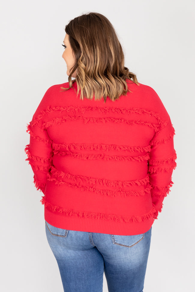 Hint The Idea Fringe Red Sweater
