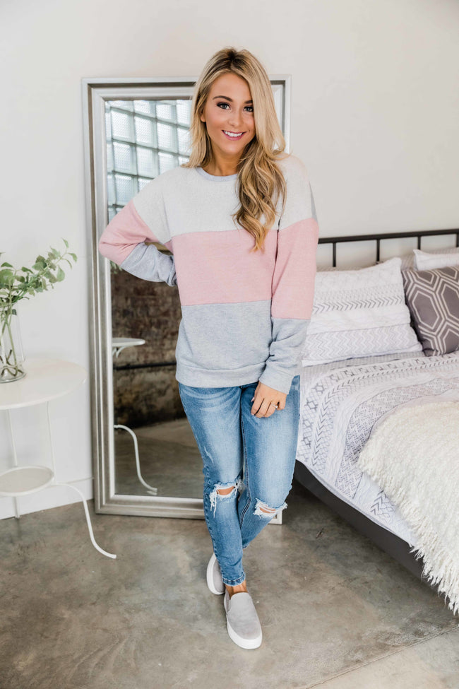 Holding Onto Your Love Mauve Colorblock Pullover