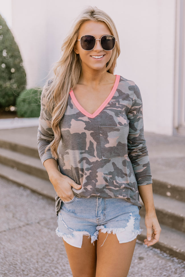 Honest With My Heart Camo Print Blouse
