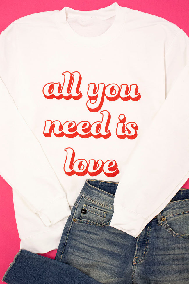 All You Need Is Love Retro White Graphic Sweatshirt