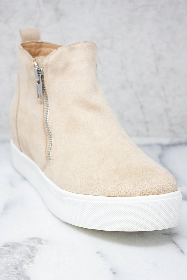 The Danielle Oatmeal Suede Wedge Sneakers