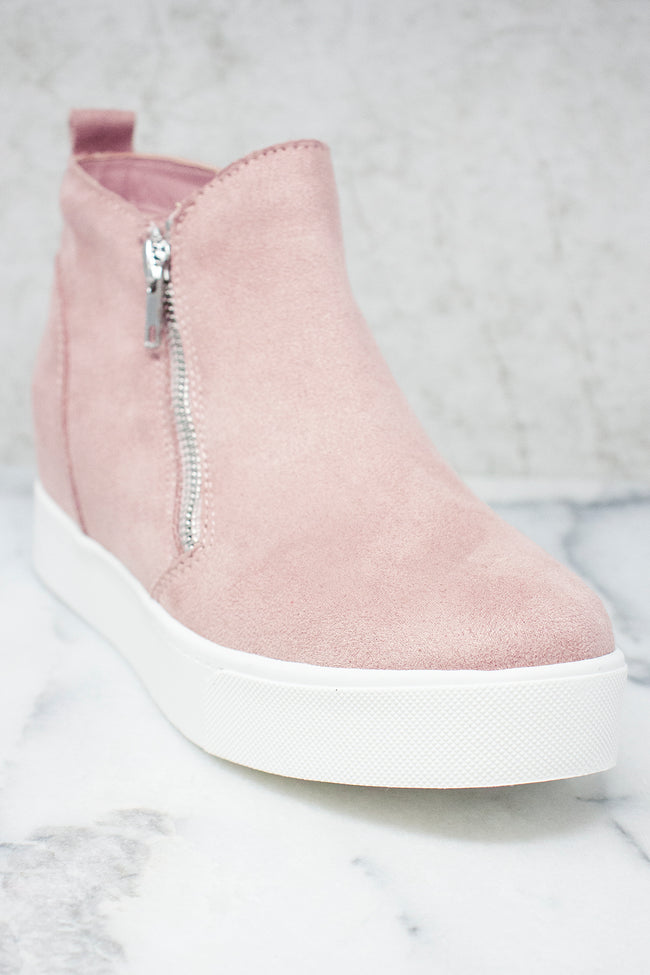 The Danielle Mauve Suede Wedge Sneakers