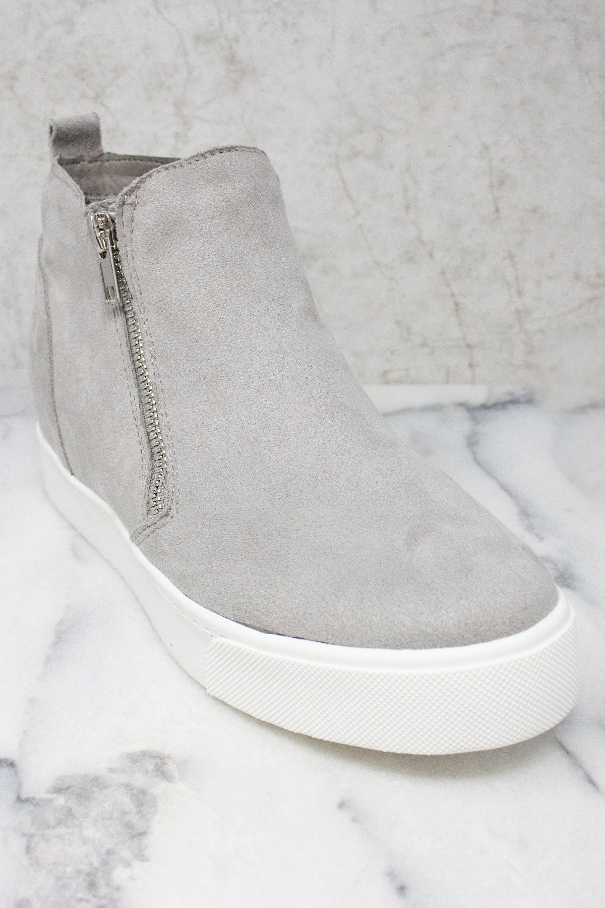 The Danielle Grey Wedge Sneakers – Pink
