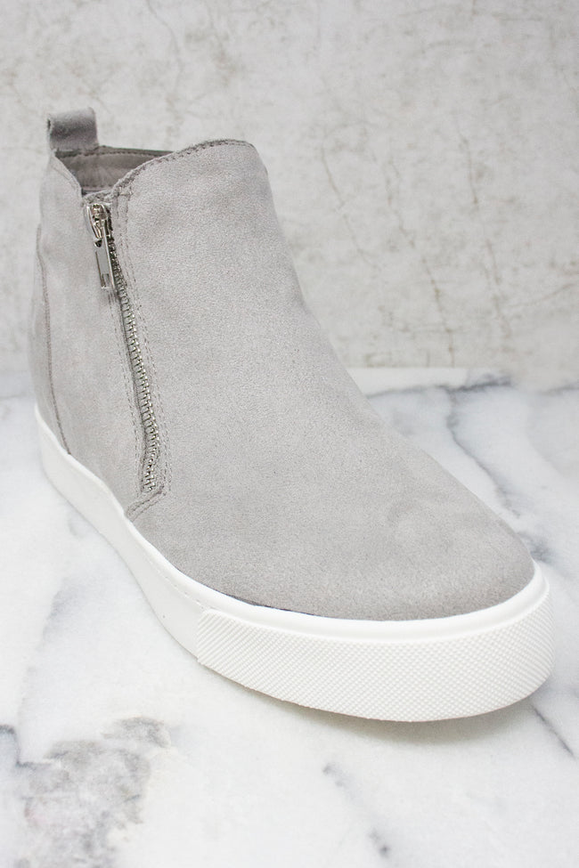 The Danielle Grey Wedge Sneakers
