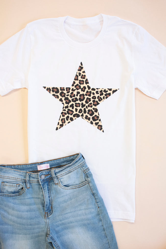 Animal Print Star Design White Graphic Tee