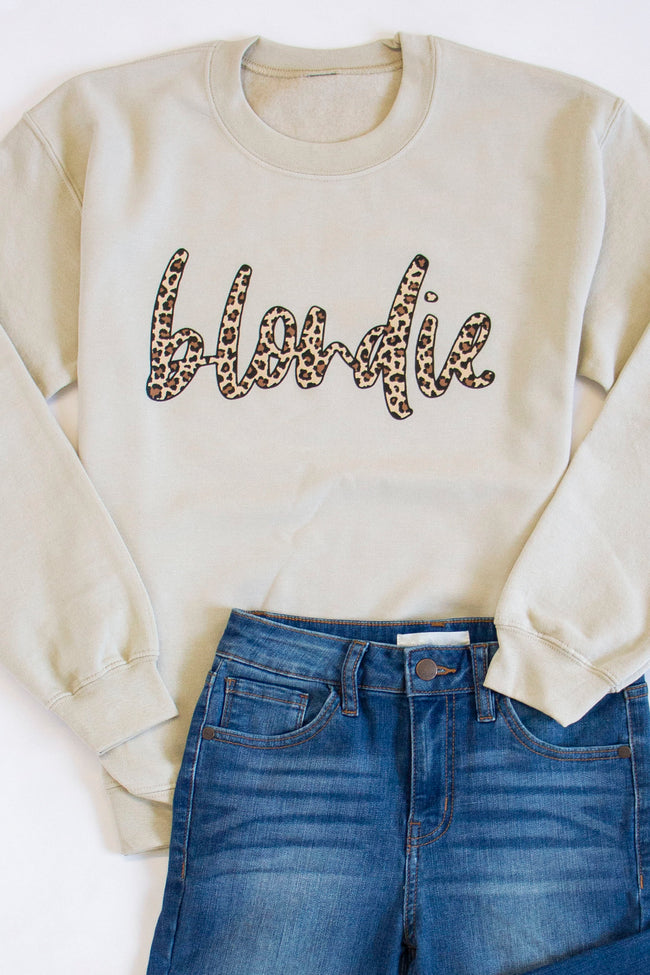 Blondie Animal Print Graphic Sand Sweatshirt