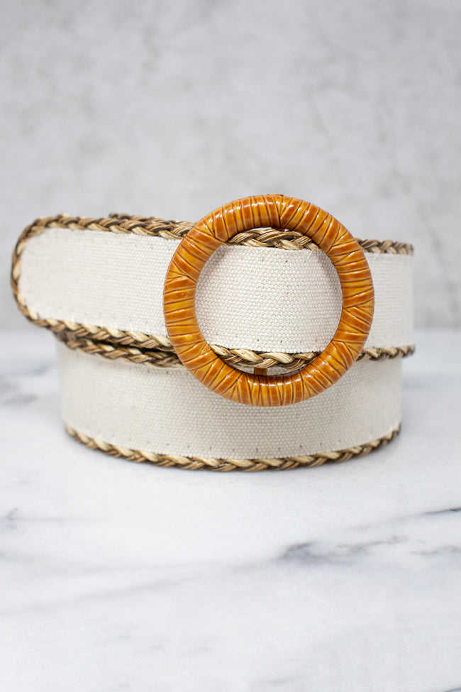 Summer Dreams Braided Edge Belt White