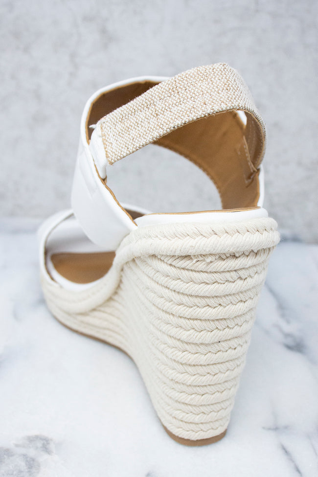 The Nora Leather Strapped Wedges White FINAL SALE
