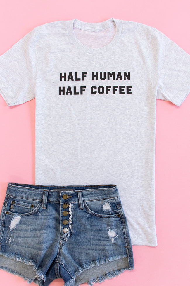 Half Human Half Coffee Graphic Tee Ash
