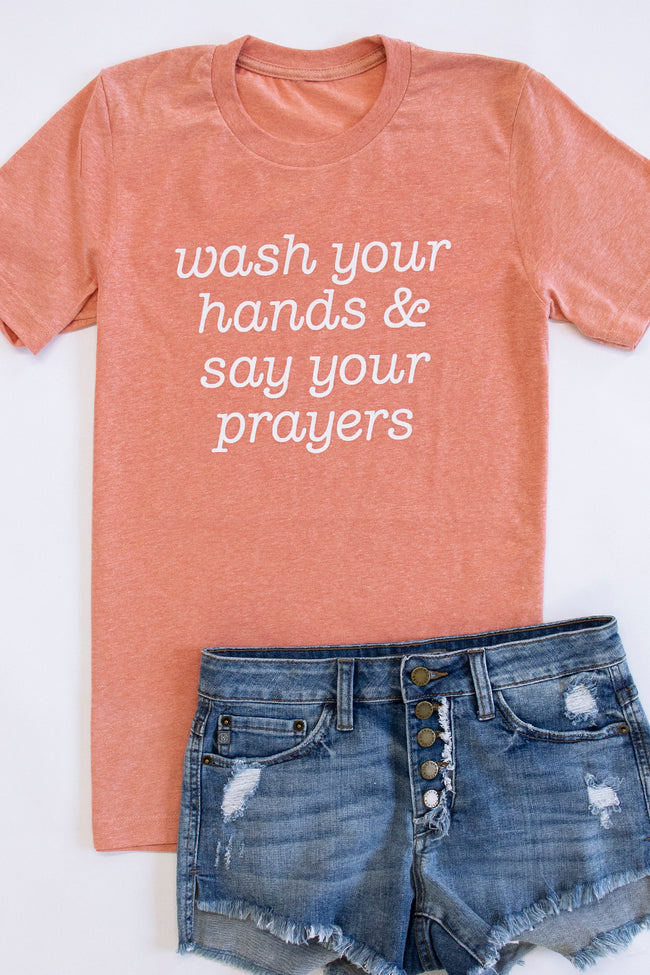 Wash And Pray Graphic Tee Heather Sunset