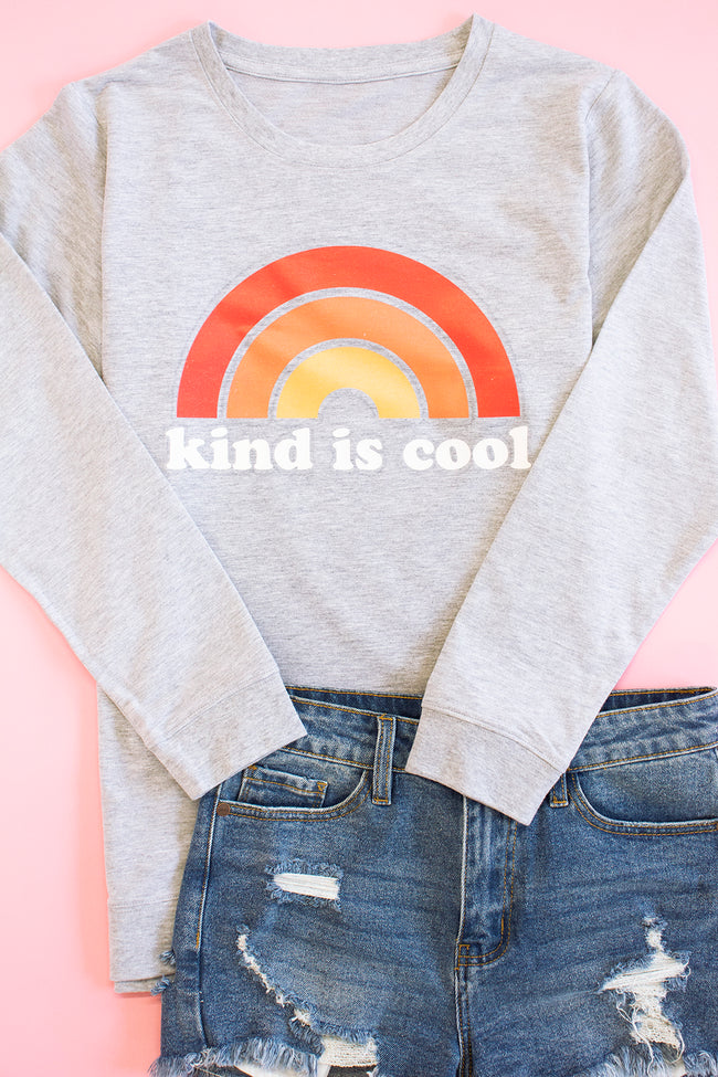Kind Is Cool Heather Grey Terry Graphic Sweatshirt