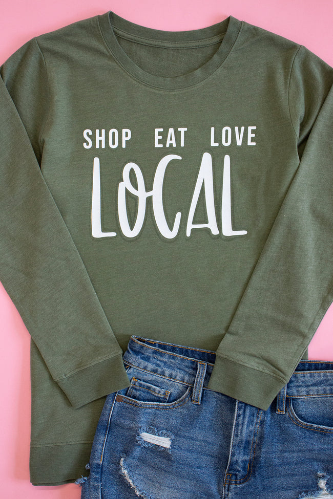 Shop Eat Love Local City Green Graphic Terry Sweatshirt