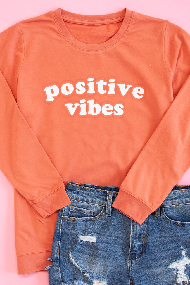 Positive Vibes Terracotta Graphic Terry Sweatshirt