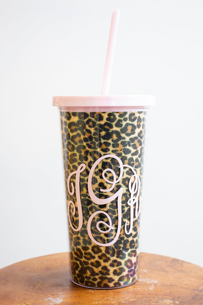 Cheetah Print Monogram Tumbler 24oz