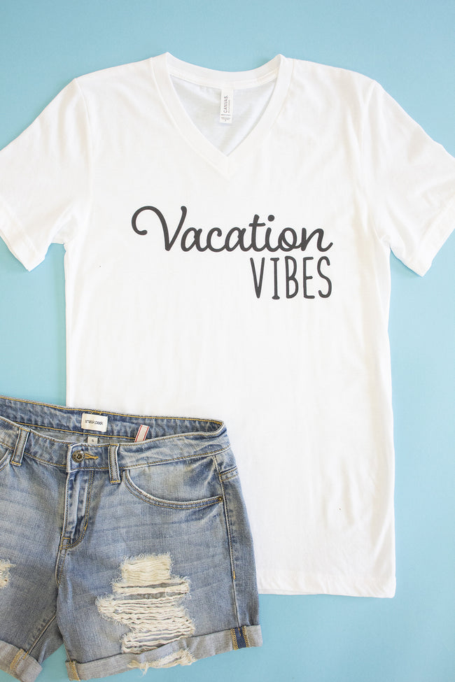 Vacation Vibes V-Neck Graphic Tee