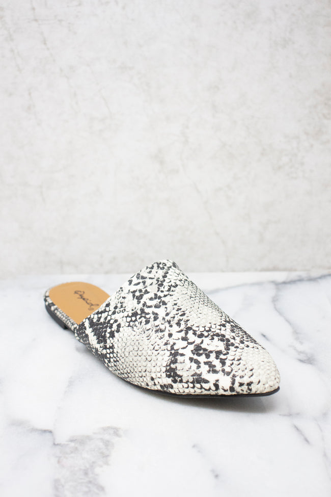 The Emma Grey Snakeskin Print Mules