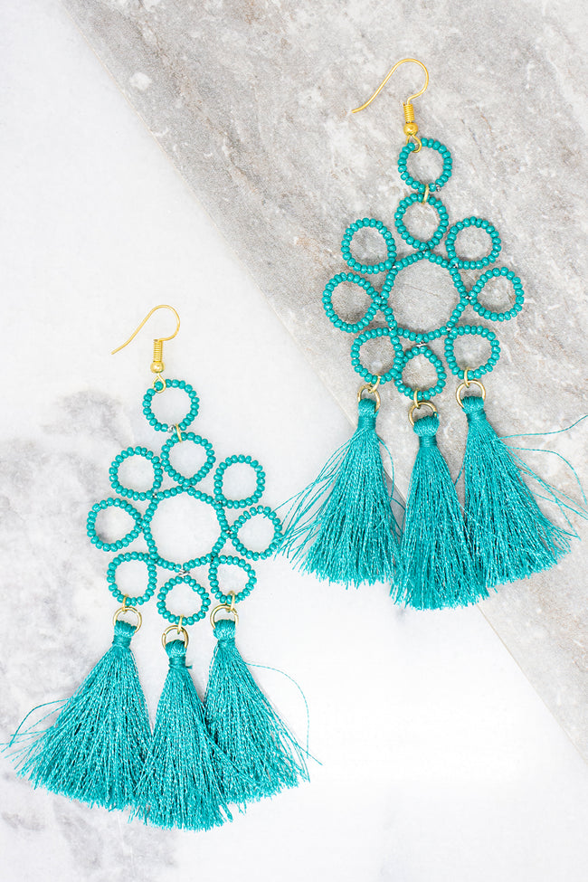 Show The World Teal Tassel Earrings CLEARANCE