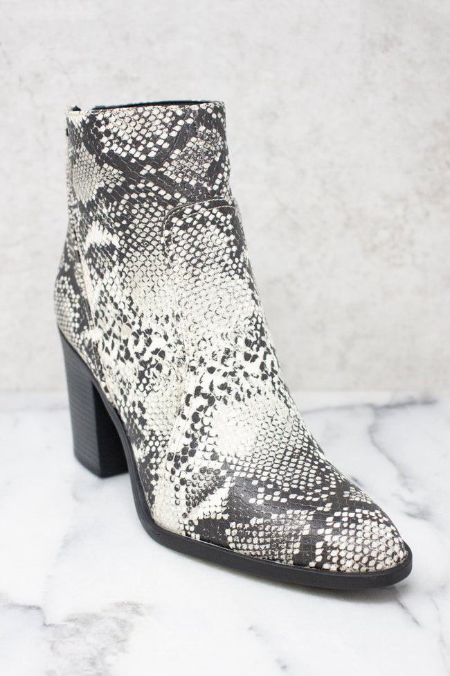 The Tricia Grey Snakeskin Print Booties CLEARANCE